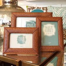 leather picture frames embossed ostrich leather frames at maze home