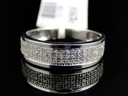 mens diamond wedding band mens 10k white gold diamond pave 5 mm wedding engagement band ring