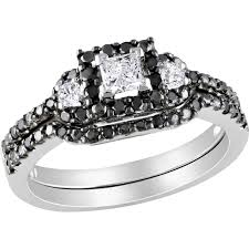 black diamond wedding sets diamore 10k white gold 1 2 ctw princess cut white and black