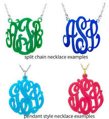 acrylic monogram necklace acrylic block monogram necklace blue beetle