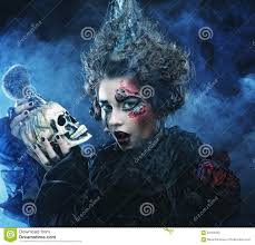 picture a beautiful fantasy woman with skull halloween theme