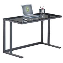 Glass Metal Computer Desk Aswan Glass Computer Desk In Smoked With Black Metal Frame Within