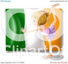 cartoon of a ballerina dancing in front of an irish flag