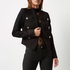 river island black smart buttoned blazer jacket in black lyst