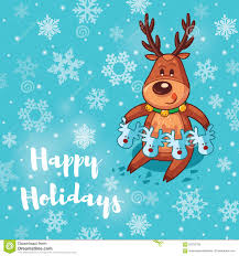 happy holidays card with deer stock vector image