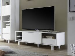 White Tv Cabinet With Doors Hanson Modern White Tv Cabinet With A Sliding Door And Square Legs