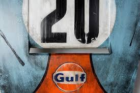 vintage gulf logo gulf porsche hood art by after the race