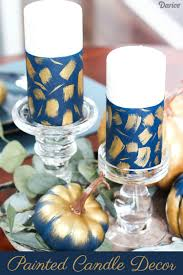 diy candle decor navy and gold brush stroke candles darice