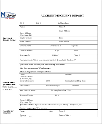 incident report register template sle incident report 6 exles in pdf word