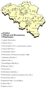 belgium and map map of belgium castles and monasteries planetware