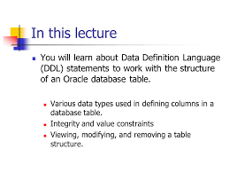 Alter Table Modify Column Oracle Oracle Data Definition Language Ddl Ppt Video Online Download