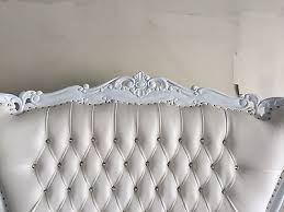 High Back Tufted Loveseat White Ornate French Baroque Absolom Wedding Highback Throne Settee