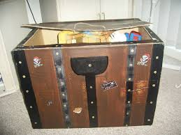treasure chest toy box made out of a large cardboard box made