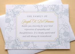 thank you for funeral flowers funeral thank you cards with blue or dusty flowers