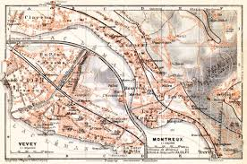 map of montreux map of montreux and vevey in 1913 buy vintage map replica
