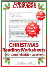 christmas 21 reading comprehension worksheets in present tense