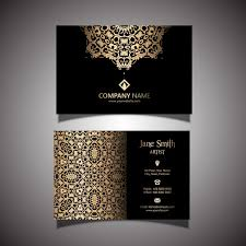 business card with golden ornaments vector free