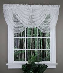 White Lace Valance Curtains Charlotte Lace Waterfall Valance White United Lace Valances