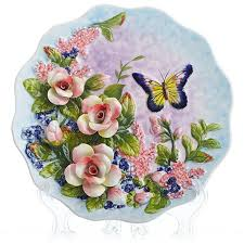 Decorative Hanging Plates New Creative Handmade Painted Emboss Butterfly Flower Decorative