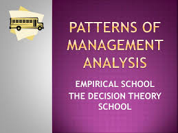 pattern of analysis empirical and decision theory school