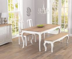 parisian 175cm shabby chic dining table with chairs and benches