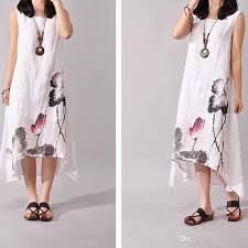 summer dresses for women embroidered cotton linen plus size women