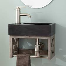 wall mounted sink vanity 16 ansel teak wall mount vanity with towel bar stone sink gray