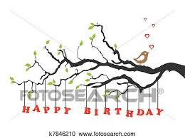 clipart of happy birthday card with bird k7846210 search clip