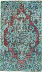 Rug 4 X 7 Hand Knotted Color Transition Burgundy Turquoise Wool Rug