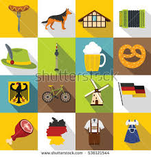 germany icons set flat illustration 16 stock vector 536121544