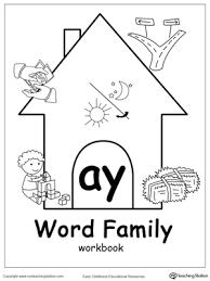 ay word family workbook for kindergarten myteachingstation com