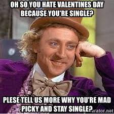 I Hate Valentines Day Meme - oh so you hate valentines day because you re single plese tell us