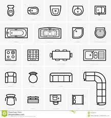 floor plan icons top view furniture icons stock vector image 55520576