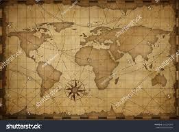 Vintage World Map Old Nautical Vintage World Map Theme Stock Illustration 573256384