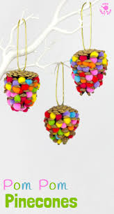 colourful pom pom pinecones kids craft room