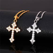 christian necklaces cross pendant necklace gold plated trendy fashion christian
