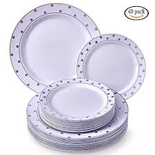 silver wedding plates party disposable 40 pc dinnerware set 20 dinner plates and 20
