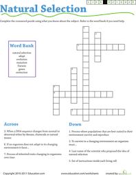 life science crossword natural selection worksheet education com