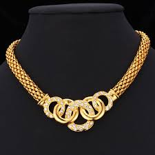 collar gold necklace images Kpop chain necklaces collar gold color 5 circles tie trendy jpg