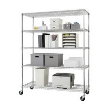 Commercial Wire Shelving by Trinity 5 Tier Heavy Duty Commercial Chrome Wire Shelving Rack