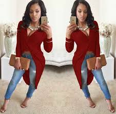 red deep v neck long sleeve front crossed asymmetrical