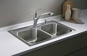 Top Mount Kitchen Sinks Kohler K 3346 4 Na Toccata Double Equal Self Rimming Kitchen Sink