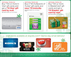 mastercard e gift card 15 rebate on 150 gift card purchases at staples frequent miler