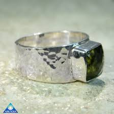 arkadia wedding band faceted moldavite hammered sterling silver ring arkadia