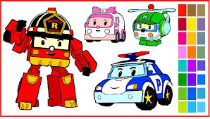 robocar poli coloring pages u2013 coloring poli roy amber and helly