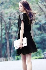 unomatch women loose short sleeves chiffon party dress black