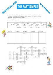 english teaching worksheets past simple crossword