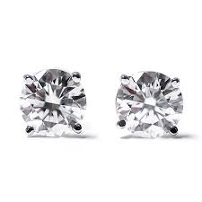gold diamond stud earrings igi certified 1 3 cttw cut 14k white gold diamond stud