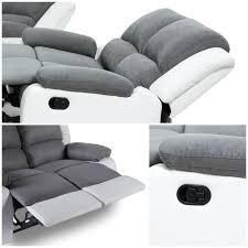 canapé simili blanc relax canape de relaxation en simili et tissu 3 places 190x93x96