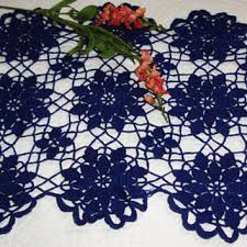Navy Blue Lace Table Runner Shop Crochet Table Linens On Wanelo